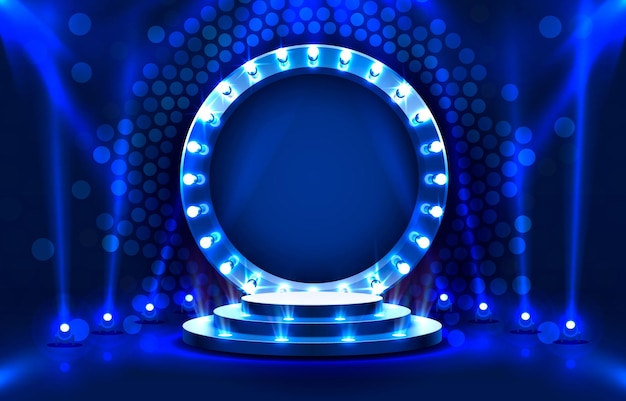 Show light stage podium scene with for award ceremony on blue background vector