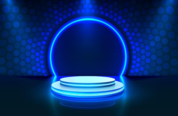 Show light, stage podium scene with for award ceremony on blue background