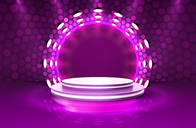 Show light, stage podium scene with for award ceremony on purple background