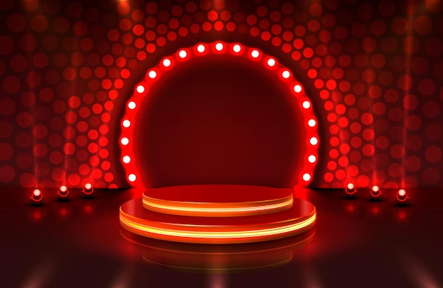 Show light, stage podium scene with for award ceremony on red background