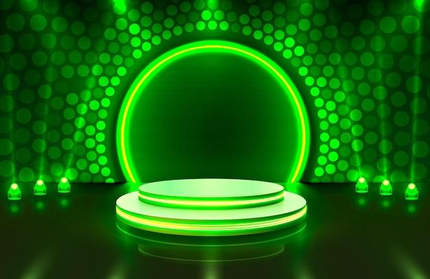 녹색 배경에 시상식을위한 조명, 무대 연단 장면 표시
