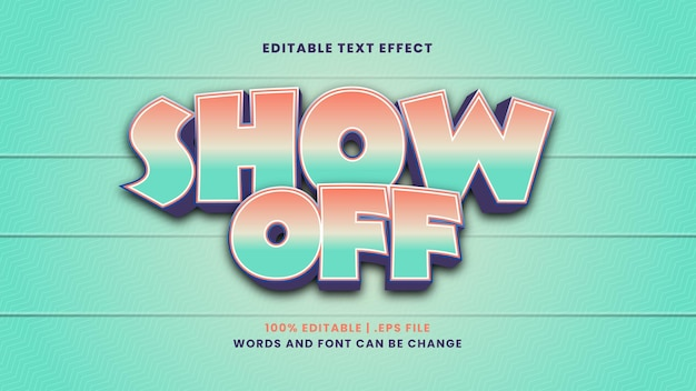 Show off editable text effect in modern 3d style