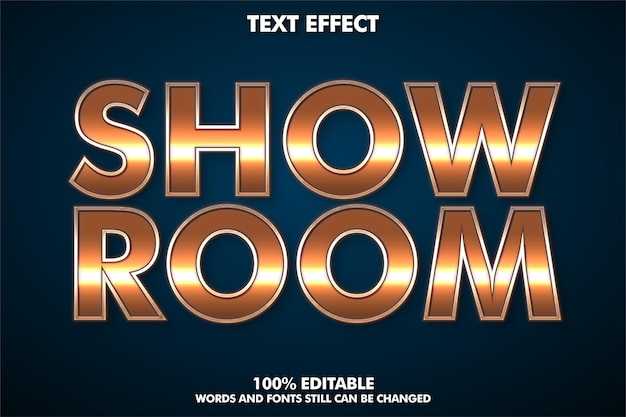 Show room, modern editable text effect