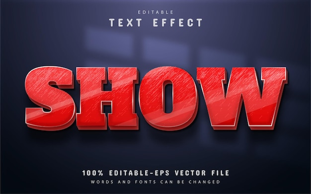 Show text, red 3d style text effect