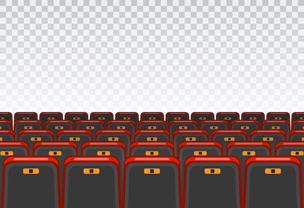 Показать понятие времени. кино и театральный зал с креслами и прозрачным экраном.