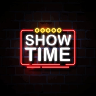Show time neon style sign illustration