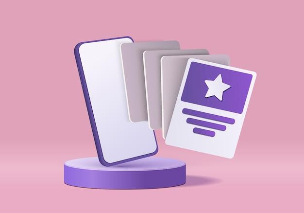 ショーケースディスプレイ最小限のスマートフォン。表彰台のショーケースを使用した3dレンダリング