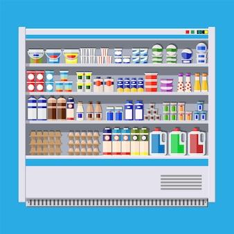 Витрина холодильная для охлаждения молочных продуктов.
