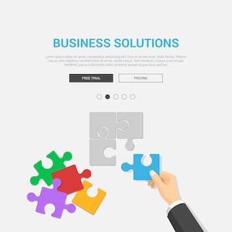 Showcase mockup modern flat design vector illustration concept for business solutions. hand placing puzzle piece top view workplace desktop table. web banner promotional materials template collection.
