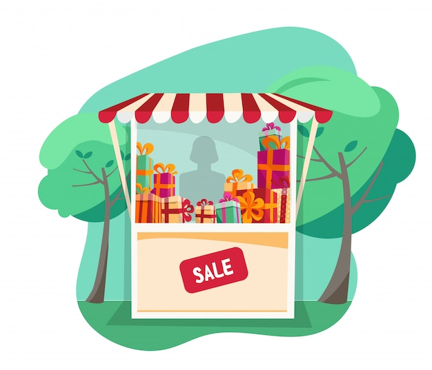 Showcase street festive tent with striped awning