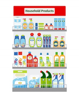 Showcase with household cleaning