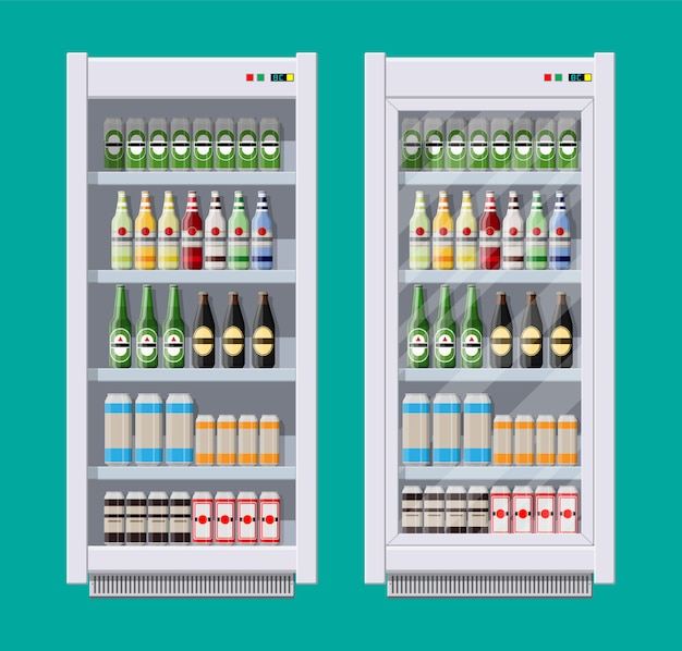 Showcases refrigerators for cooling drinks