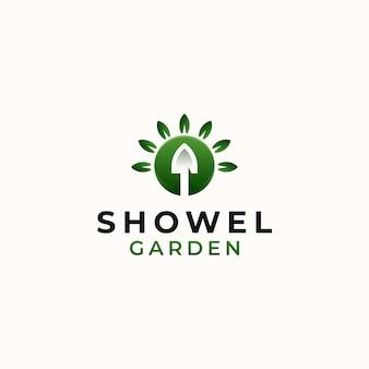 Шаблон логотипа зеленый градиент showel garden, изолированные на белом фоне