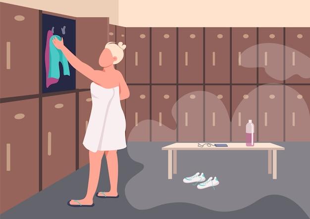 Shower after training flat color illustration