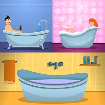 Shower bathtub banner set, cartoon style