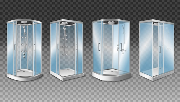 Shower cabins with transparent glass doors and modern shower system