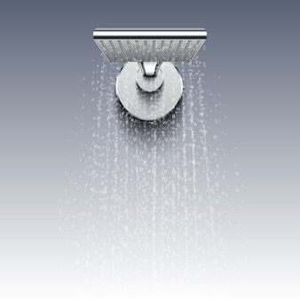 Shower head with water drops realistic . shower water splashing in bathroom