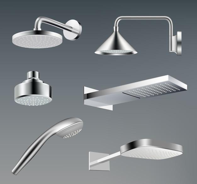 Душевые лейки. металлические аксессуары для ванной комнаты с водяным душем вектор реалистичный шаблон. иллюстрация реалистичная ванная комната хромированный металлический душ