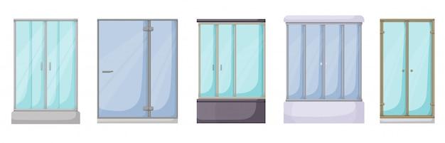 シャワー室漫画セットアイコン。白い背景の上の図のバスルーム。漫画セットアイコンシャワー室。