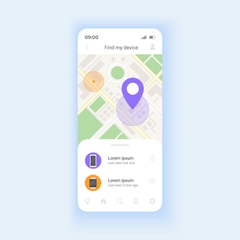 Showing phone location smartphone interface vector template