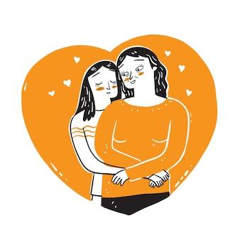 그녀의 딸과 어머니의 사랑을 보여줍니다. 선형 스타일로 그림 그리기