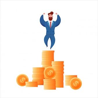 Деловой человек в костюме на золотые монеты showint мышцы. успешный предприниматель с прибылью.