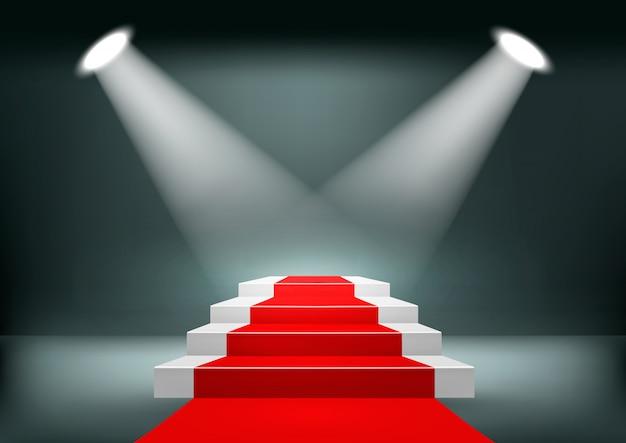 Предпосылка выставочного зала с красной ковровой дорожкой.