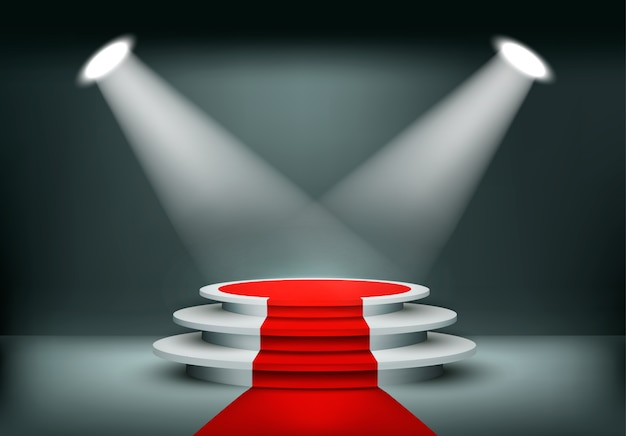 Showroom background with a red carpet. .