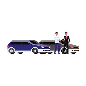 Автосалон с авто, дилером и покупателем. дилерский центр с автомобилями, купля-продажа, двое мужчин заключили сделку и пожали друг другу руки. квартира изолированных векторные иллюстрации.