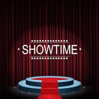 Showtime баннер с подиумом и занавесом, освещенный прожекторами