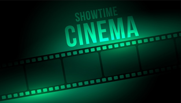 Showtime cinema background with film strip reel