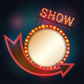 Showtime signboard retro style with light frame