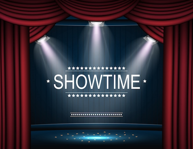 Showtime фон с занавеской, освещенной прожекторами