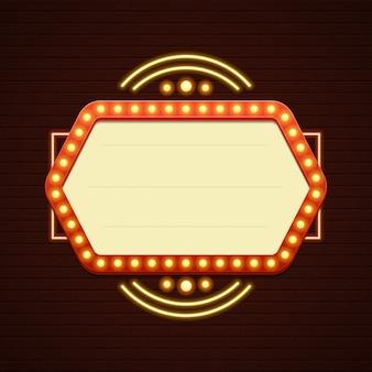 Ретро showtime знак продажи кино вывесок лампочки рамка и неоновые лампы