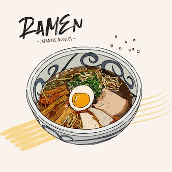 Shoyu ramen, hand draw sketch vector.