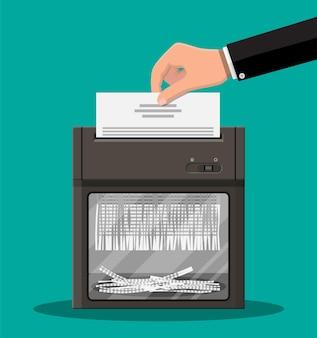 Шредер и рука с иллюстрацией бумаги для документов