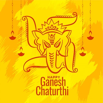 Shree ganesh chaturthi festival wishes greeting card