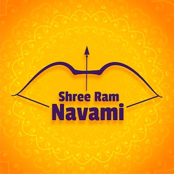 Shree ram navami festival greeting design with bow and arrow