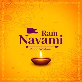 Shree ram navami hindu festival decorative greeting card with arrow