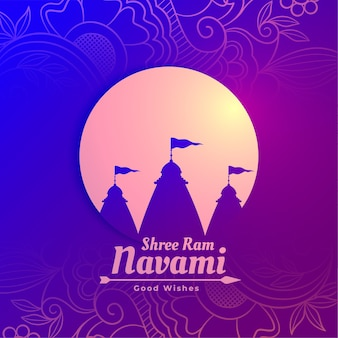 Shree ram navami temple greeting design