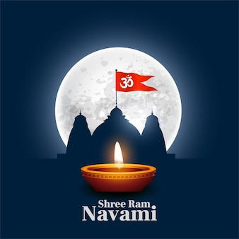 Shree ram navami wishes card with temple and diya