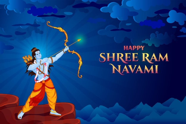 Shri ram navami with bow & arrow greeting card of lord rama