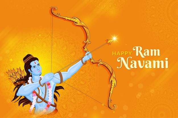 Shri ram navami with bow & arrow greeting card of lord rama