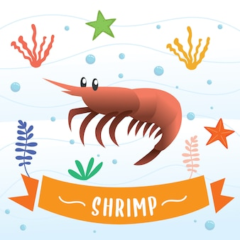 Shrimp cartoon character.