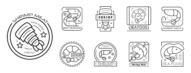 Shrimp icon set, outline style