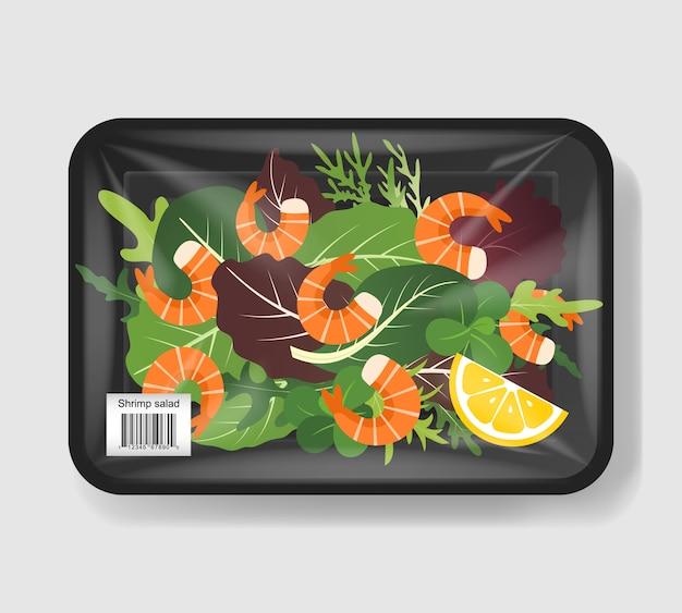 Салат из креветок. смешайте листья салата с креветками в пластиковом контейнере с целлофановым покрытием. пластиковый пищевой контейнер. иллюстрации.