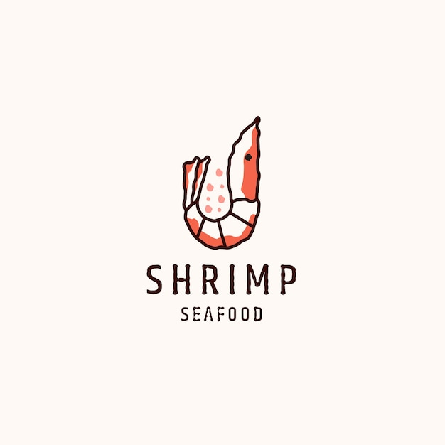 Shrimp seafood logo icon flat logo design template illustration
