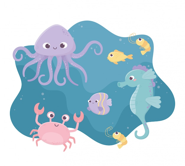 Shrimp seahorse crab fishes octopus life cartoon under the sea