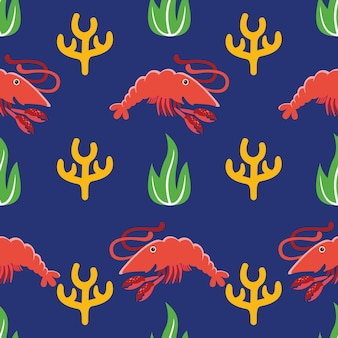 Shrimp seamless pattern in flat design style