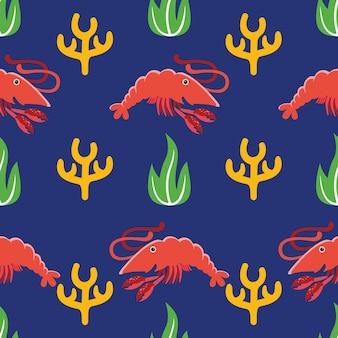 평면 디자인 스타일의 새우 원활한 패턴